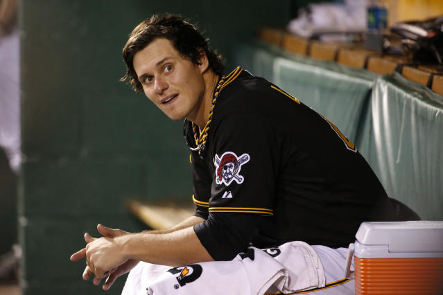 Pittsburgh Pirates starting pitcher Jeff Locke sits in the dugout during the fifth inning of a baseball game against the Miami Marlins in Pittsburgh on Wednesday, Aug. 6, 2014. The Pirates won 7-3, with Locke getting the win. (AP Photo/Gene J. Puskar)