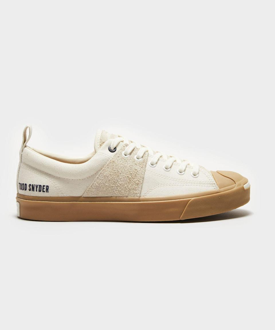 """<p><strong>Todd Snyder x Jack Purcell</strong></p><p>toddsnyder.com</p><p><strong>$100.00</strong></p><p><a href=""""https://go.redirectingat.com?id=74968X1596630&url=https%3A%2F%2Fwww.toddsnyder.com%2Fcollections%2Ftodd-snyder-x-jack-purcell%2Fproducts%2Fts-x-jack-purcell-oxegret-egret-gum-egret-gum-white&sref=https%3A%2F%2Fwww.esquire.com%2Fstyle%2Fmens-fashion%2Fg36489674%2Ftodd-snyder-jack-purcell-collaboration-collection%2F"""" rel=""""nofollow noopener"""" target=""""_blank"""" data-ylk=""""slk:Shop Now"""" class=""""link rapid-noclick-resp"""">Shop Now</a></p>"""