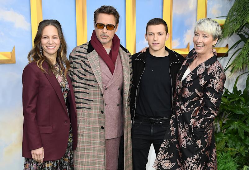 Susan Downey, Robert Downey Jr, Tom Holland and Emma Thompson attend the
