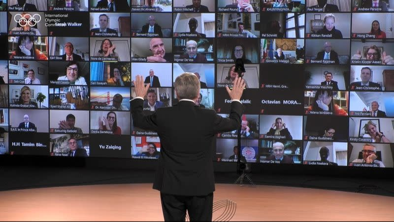 IOC President Bach reacts after his reelection during the 137th IOC Session and virtual meeting in Lausanne