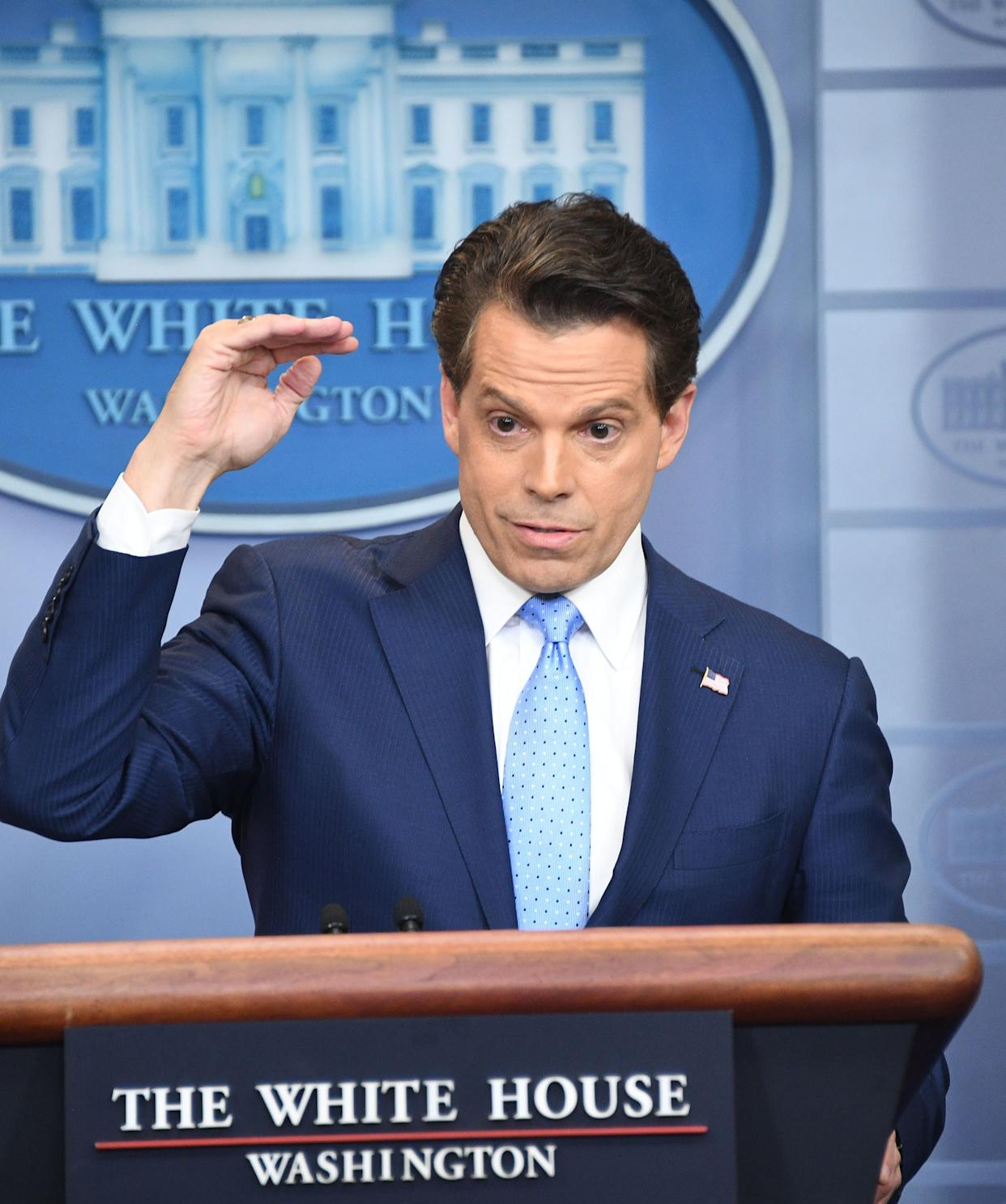 Scaramucci talks to the media during a briefing on July 21, 2017.