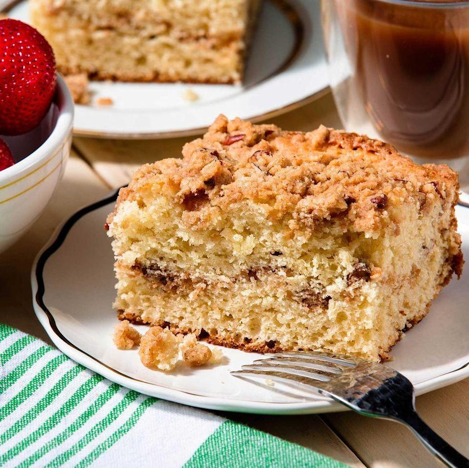 "<p>This coffee cake is bound to be the star of any afternoon tea spread. If needed, bake the night before and cover with a kitchen towel, that way it's ready to slice and serve ASAP. </p><p>Get the <a href=""https://www.delish.com/uk/cooking/recipes/a29139335/easy-coffee-cake-recipe/"" rel=""nofollow noopener"" target=""_blank"" data-ylk=""slk:Classic Coffee Cake"" class=""link rapid-noclick-resp"">Classic Coffee Cake</a> recipe.</p>"