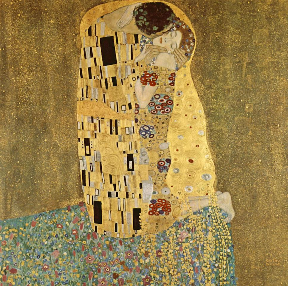 <p>Gustav Klimt's famous painting, which he started in 1907, is arguably the highpoint of his so-called 'Golden Period'. It depicts a couple, in various shades of gold and symbols, sharing a kiss against a bronze background. <i>[Photo: Rex]</i></p>