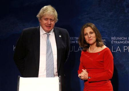 Canada's Minister of Foreign Affairs Chrystia Freeland holds a bilateral meeting with Britian's Secretary of State for Foreign Affairs Boris Johnson in Vancouver, British Columbia, Canada January 16, 2018. REUTERS/Ben Nelms