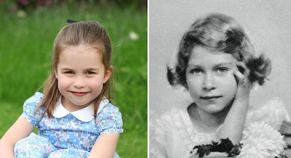 Princess Charlotte shares facial features with Queen Elizabeth pictured, right, at a similar age. [Photo: PA/Getty]
