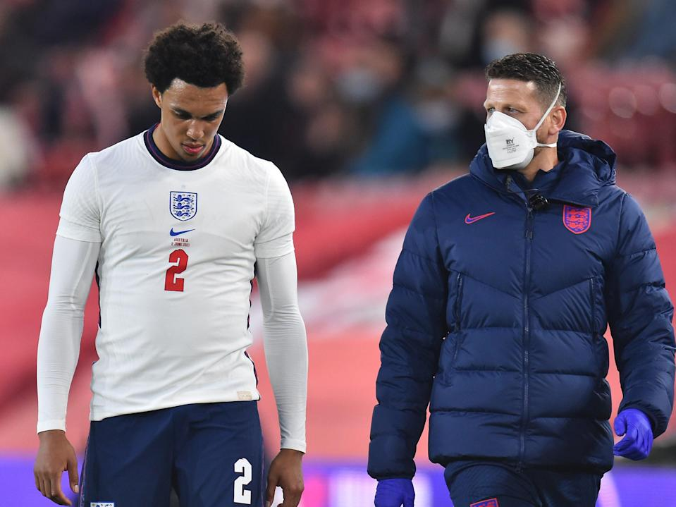 <p>Trent Alexander-Arnold suffers an injury against Austria</p> (Getty)