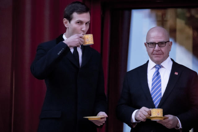 <p>President Donald Trump's White House Senior Adviser Jared Kushner and National Security Adviser H.R. McMaster, share a drink together before President Donald Trump and Chinese President Xi Jinping arrive for a Chinese opera performance at the Forbidden City, Wednesday, Nov. 8, 2017, in Beijing, China. (Photo: Andrew Harnik/AP) </p>