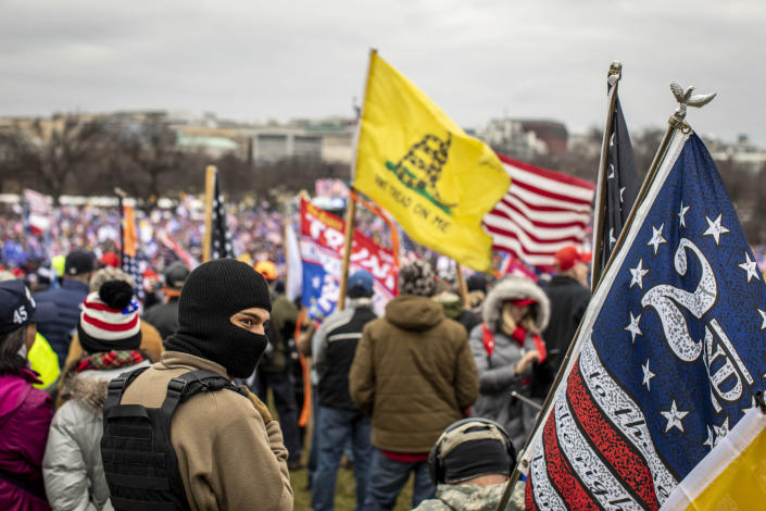 Protesters on the National Mall wait for President Donald Trump to speak on the day that some stormed the U.S. Capitol building in Washington, Jan. 6, 2021. (Jason Andrew/The New York Times)