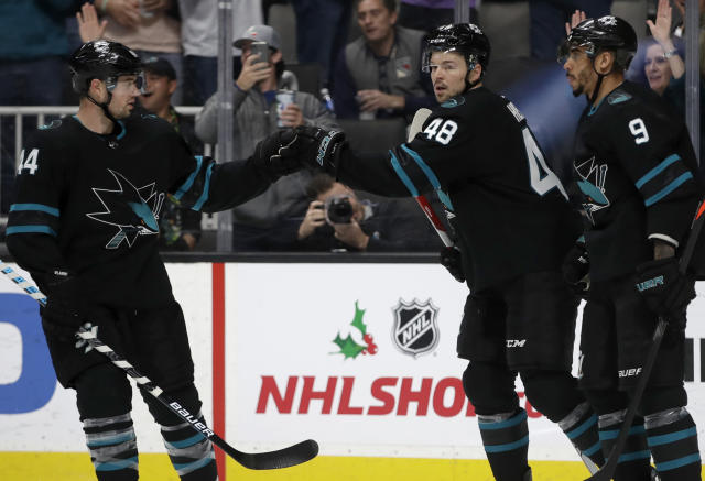 San Jose Sharks' Tomas Hertl (48) celebrates with teammates Marc-Edouard Vlasic, left, and Evander Kane (9) after scoring against the New York Rangers in the first period of an NHL hockey game Thursday, Dec. 12, 2019, in San Jose, Calif. (AP Photo/Ben Margot)