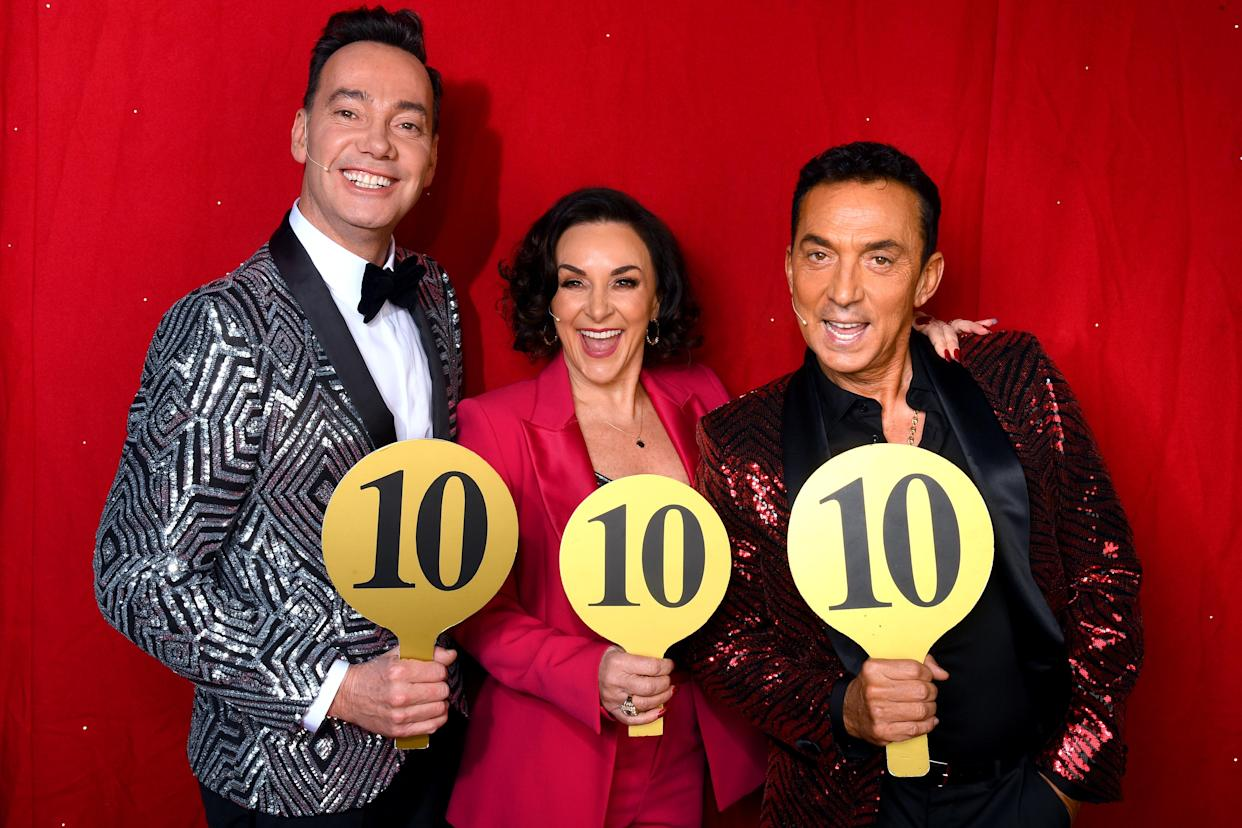 Craig Revel Horwood, Shirley Ballas and Bruno Tonioli during the opening night of the Strictly Come Dancing Arena Tour 2020. (Photo by Dave J Hogan/Getty Images)