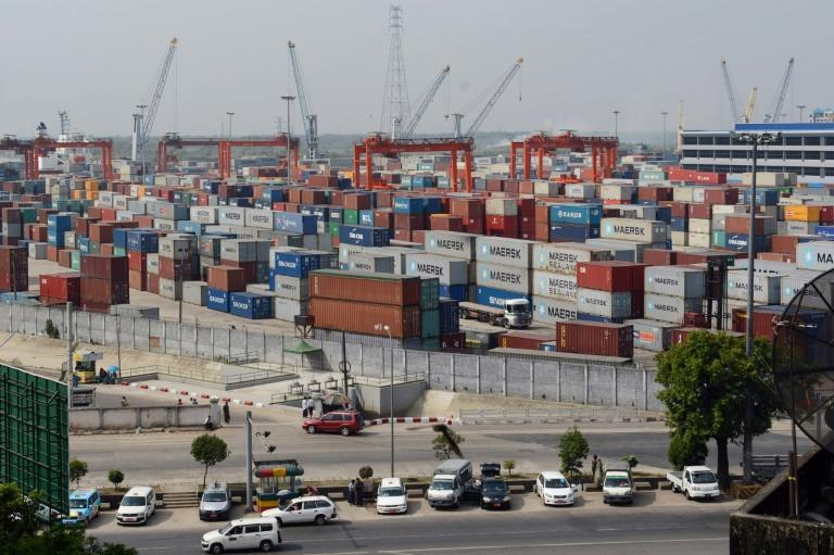 A container terminal in the Myanmar capital, Yangon