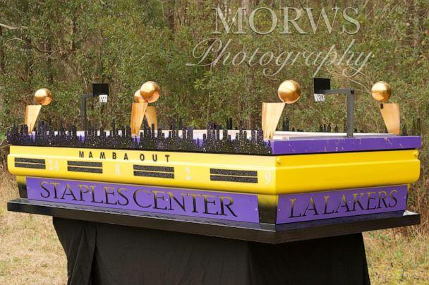 PHOTO: Fletcher Collins of Glorious Custom Designs created a Lakers-inspired casket to honor Kobe Bryant. (Models Of Royalty World Studio Photography (Denéja Tané))