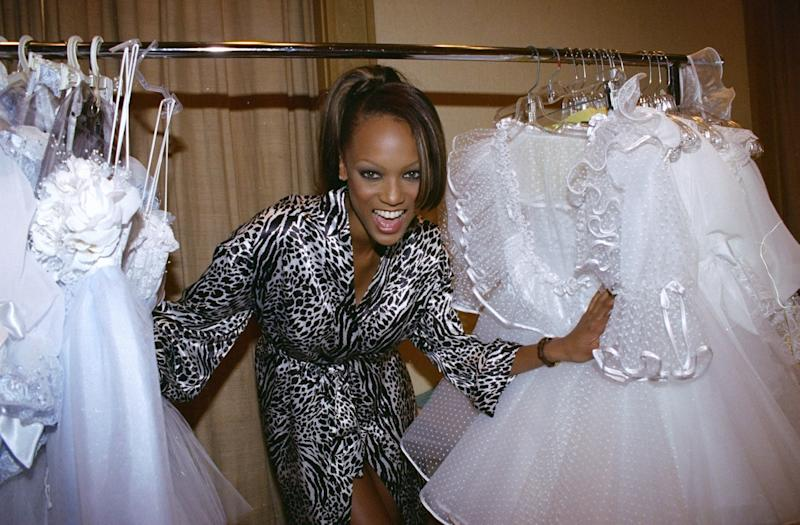 Tyra Banks backstage at the 1996 Victoria's Secret Fashion Show, inside the Plaza Hotel in New York.