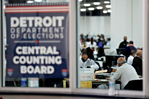 PHOTO: Detroit election workers work on counting absentee ballots for the general election at TCF Center on Nov. 4, 2020, in Detroit. (Jeff Kowalsky/AFP via Getty Images)
