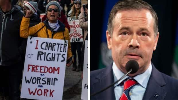 While leading Alberta's response to the COVID-19 pandemic, Premier Jason Kenney has encountered opposition, including protestors claiming their freedoms have been violated. (Jason Franson, Todd Korol - image credit)