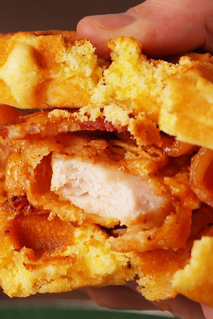 """<p>When the first thing you eat is a no-fuss sandwich stacked with fried chicken, bacon, fresh cornbread waffles, and bourbon-laced maple syrup...well, you know it's gonna be a good day.</p><p>Get the recipe from <a href=""""https://www.delish.com/cooking/recipe-ideas/recipes/a53177/maple-bourbon-chicken-waffle-sandwich-recipe/"""" rel=""""nofollow noopener"""" target=""""_blank"""" data-ylk=""""slk:Delish"""" class=""""link rapid-noclick-resp"""">Delish</a>.</p>"""