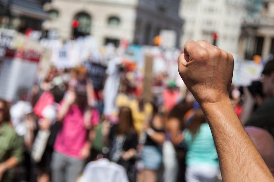 political protester with their fist up
