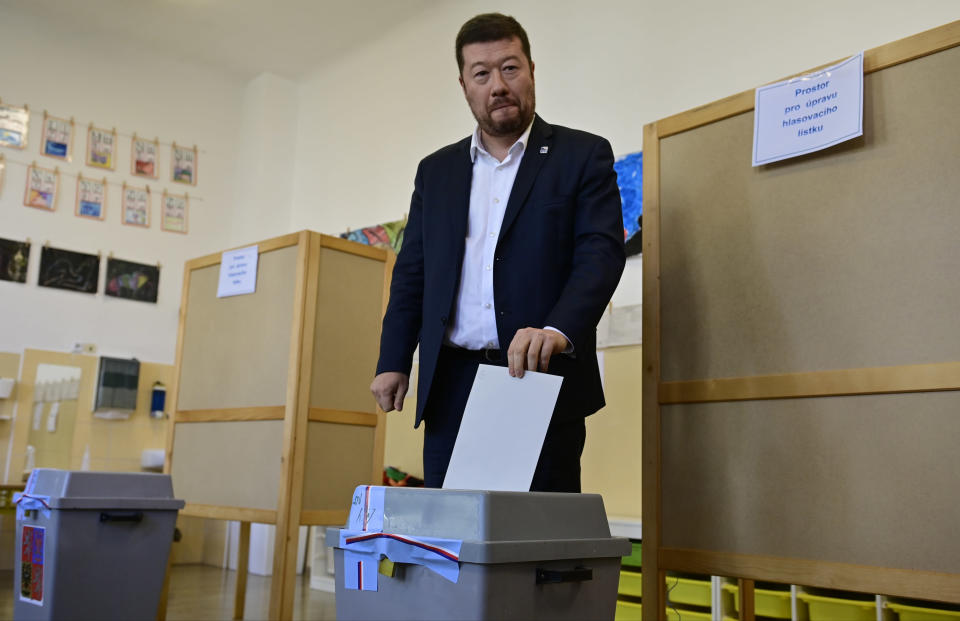 Leader of far right The Freedom and Direct Democracy (SPD) party Tomio Okamura votes during the parliamentary election in Prague, Czech Republic, Friday, Oct. 8, 2021. (Roman Vondrous/ AP Photo via CTK)