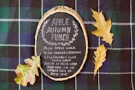 """<p>For a creative spin on a fall party drink recipe, spray a block of wood with chalkboard paint, allow to dry and scribble on the ingredients. In this recipe block from <a href=""""https://urldefense.proofpoint.com/v2/url?u=http-3A__www.stylemepretty.com_living_&d=CwMF-g&c=B73tqXN8Ec0ocRmZHMCntw&r=1SKxxQCjta-pWEjaI7W4C1a9YhNhSr750SSHCTkjllE&m=RtIo9GQUy1khEGYgp_dhLgF7iED4v2a3drSrbCL13b0&s=gVfpQOnoKGz3oWUyfRWbe1qJQOcxkSJRSRv8QjqobQY"""" rel=""""nofollow noopener"""" target=""""_blank"""" data-ylk=""""slk:Style Me Pretty Living"""" class=""""link rapid-noclick-resp"""">Style Me Pretty Living</a>, dark flannel provides the perfect <a href=""""https://www.elledecor.com/design-decorate/room-ideas/g10316429/rustic-dining-room/"""" rel=""""nofollow noopener"""" target=""""_blank"""" data-ylk=""""slk:rustic backdrop"""" class=""""link rapid-noclick-resp"""">rustic backdrop</a> to this vignette. </p>"""