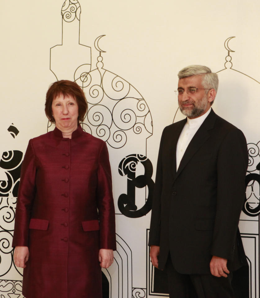EU Foreign Policy Chief Catherine Ashton, left, poses for a photo with Iran's Chief Nuclear Negotiator Saeed Jalili in Baghdad, Iraq, Wednesday, May 23, 2012. Negotiators from the U.S. and five other world powers sat down Wednesday with a team of Iranian diplomats to try to hammer out specific goals in the yearslong impasse over Tehran's nuclear program. (AP Photo/Hadi Mizban)