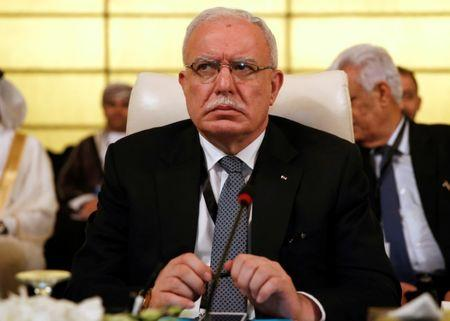 Palestinian Foreign Minister Riyad al-Maliki attends the preparatory meeting of Arab Foreign ministers of the 28th Ordinary Summit of the Arab League at the Dead Sea