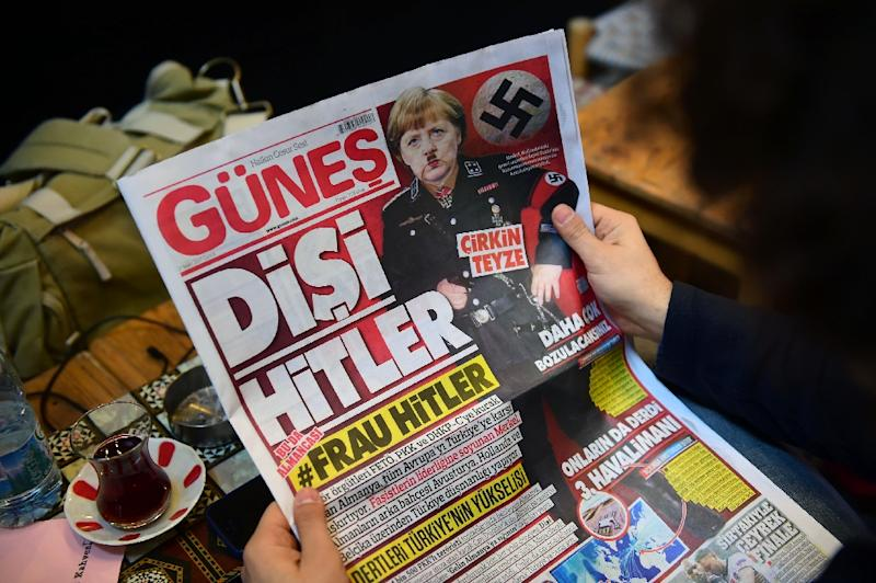 """Turkish daily Gunes labelled the German leader Angela Merkel as a """"She Hitler"""" on March 17, amid a bitter war of words between Ankara and Berlin"""