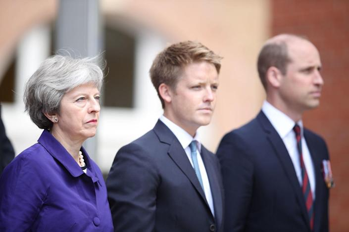 Hugh Grosvenor, the 7th Duke of Westminster, centre, with former prime minister Theresa May and the Duke of Cambridge (Picture: PA)