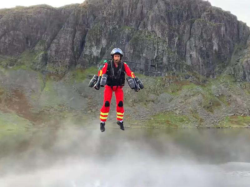 Chief test pilot Richard Browning during the jet suit demonstration in the Lake District (PA)