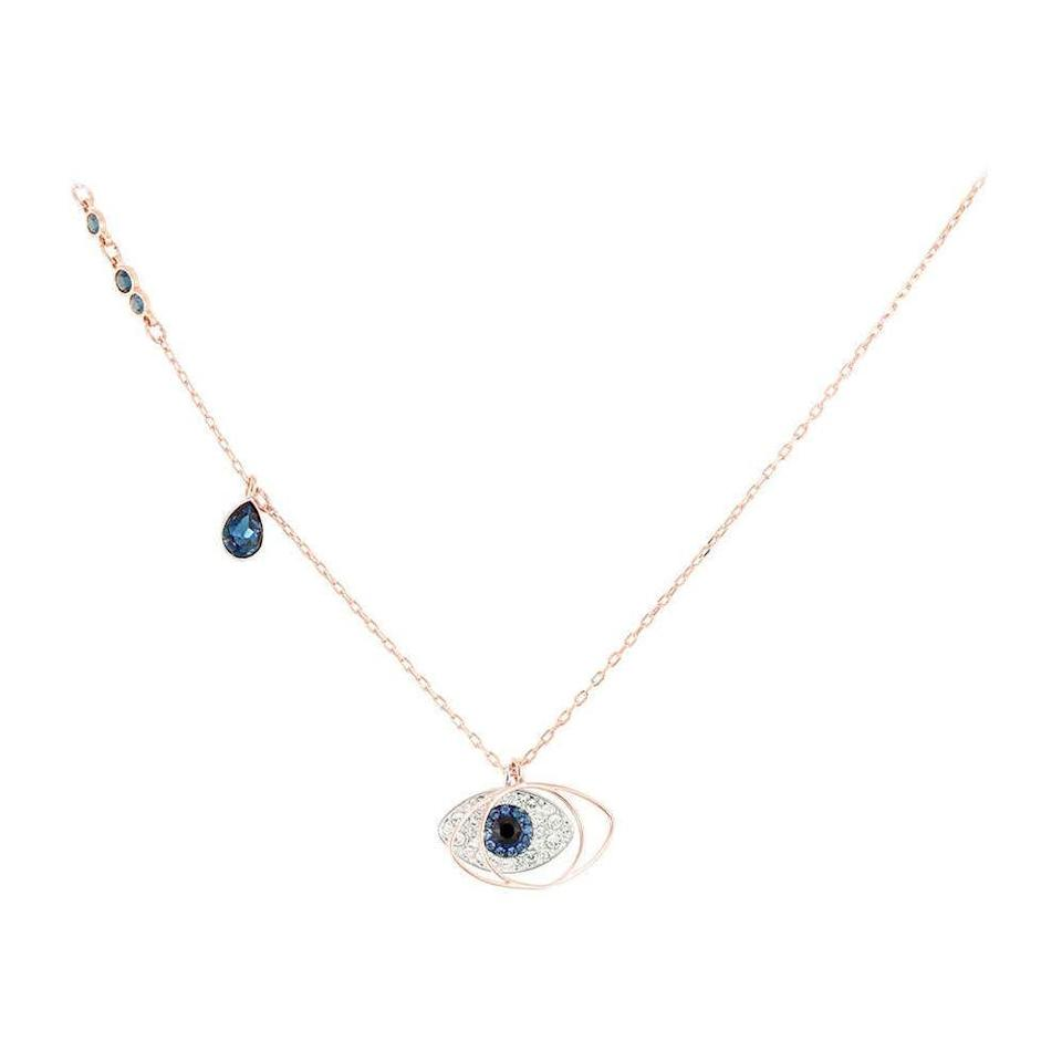 "<br> <br> <strong>Swarovski</strong> Duo Evil Eye Pendant, $, available at <a href=""https://www.amazon.com/Swarovski-Duo-Evil-Eye-Pendant/dp/B016ROFMKU/"" rel=""nofollow noopener"" target=""_blank"" data-ylk=""slk:Amazon"" class=""link rapid-noclick-resp"">Amazon</a>"