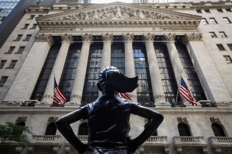 The front facade of the of the NYSE is seen in New York