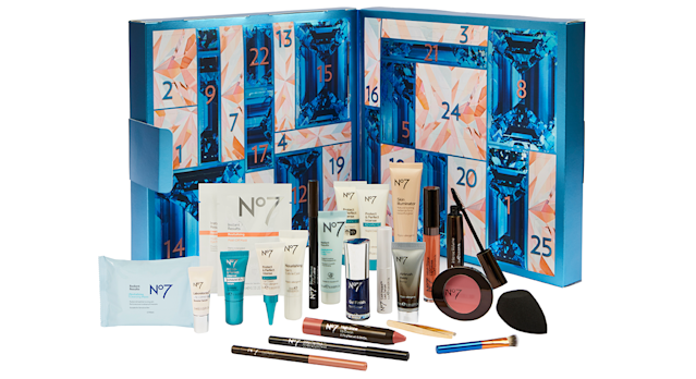 The contents of No7's beauty advent calendar 2019 have been revealed. [Photo: Boots]