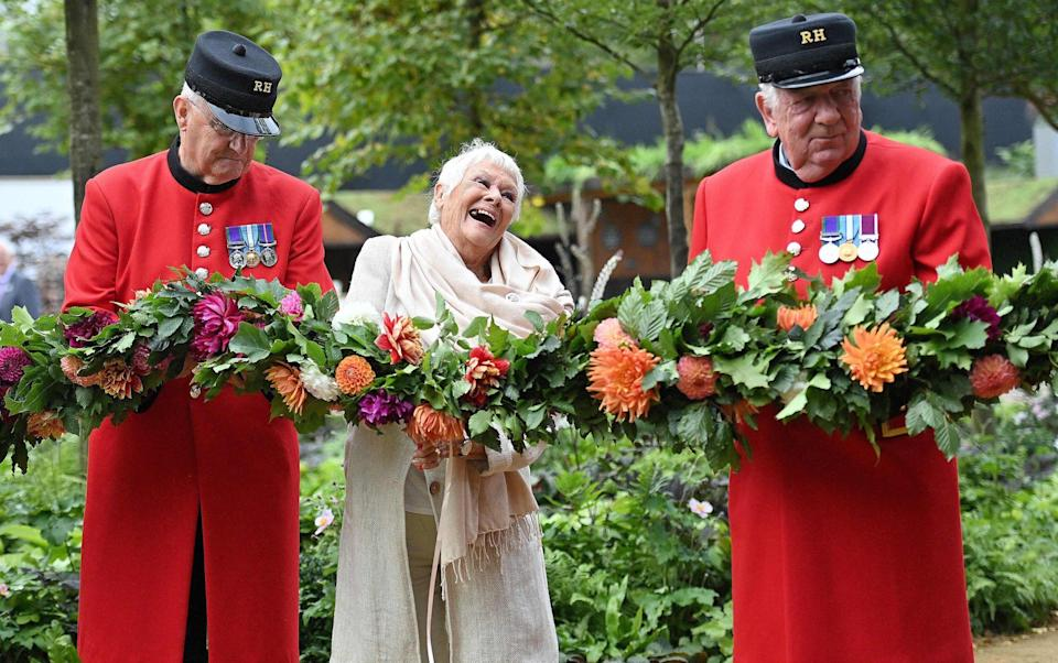 Dame Judi Dench joined Chelsea Pensioners to open this year's Flower Show - Justin Tallis/AFP via Getty Images
