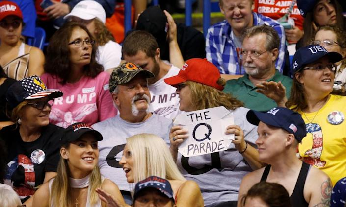 "<span class=""element-image__caption"">A supporter holds a QAnon sign at a Trump rally in Wilkes-Barre, Pennsylvania, in 2018.</span> <span class=""element-image__credit"">Photograph: Leah Millis/Reuters</span>"