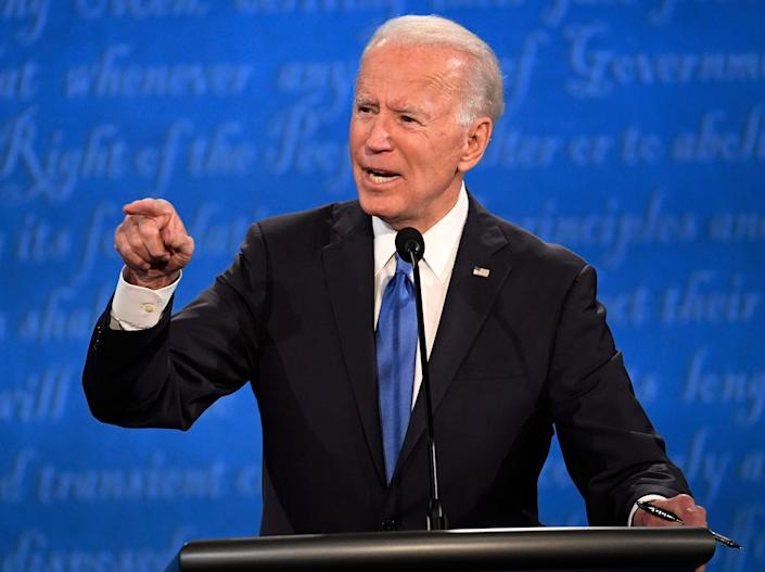 Democratic presidential candidate former Vice President Joe Biden speaks during the final presidential debate at the Curb Event Center at Belmont University in Nashville, Tennessee.