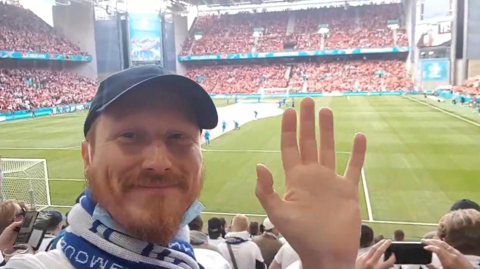 Finnish fan Mark Hayton, pictured before the game, said the atmosphere in the stadium immediately changed (Mark Hayton)
