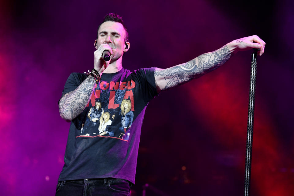 MIAMI, FLORIDA - FEBRUARY 01: Adam Levine with Maroon 5 performs onstage during the Bud Light Super Bowl Music Fest on February 01, 2020 in Miami, Florida. (Photo by Frazer Harrison/Getty Images for Bud Light Super Bowl Music Fest)