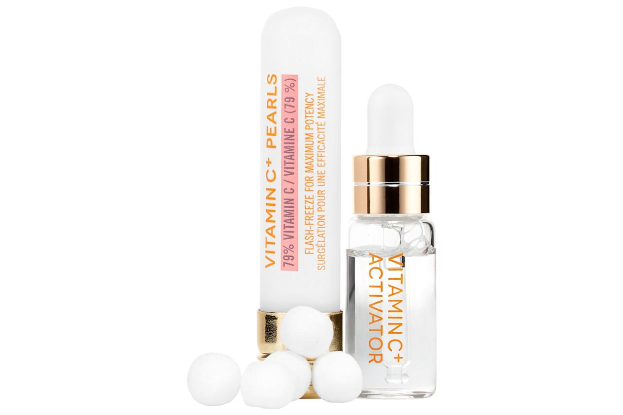 """<p>This duo almost seems like you're performing a science experiment as you mix the freeze-dried vitamin C balls (it helps keep the vitamin C stable until you're ready to use it) with the activation serum. Use the treatment overnight before a special occasion to ensure a glowing finish.</p> <p> <strong>To buy:</strong> $58; <a href=""""https://www.amazon.com/Karuna-Vitamin-C-Pearls/dp/B0716LS2PF/ref=as_li_ss_tl?ie=UTF8&linkCode=ll1&tag=rsbeautyvitamincserumsrsylvester0919-20&linkId=c76806ae75a98a8fce96ce99dc5fdddc&language=en_US"""" target=""""_blank"""">amazon.com</a>.</p>"""