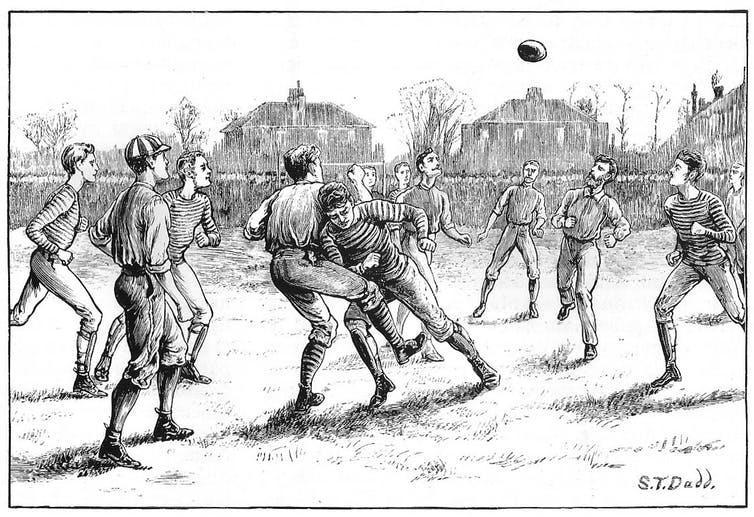 Illustration of a football match in 1871.