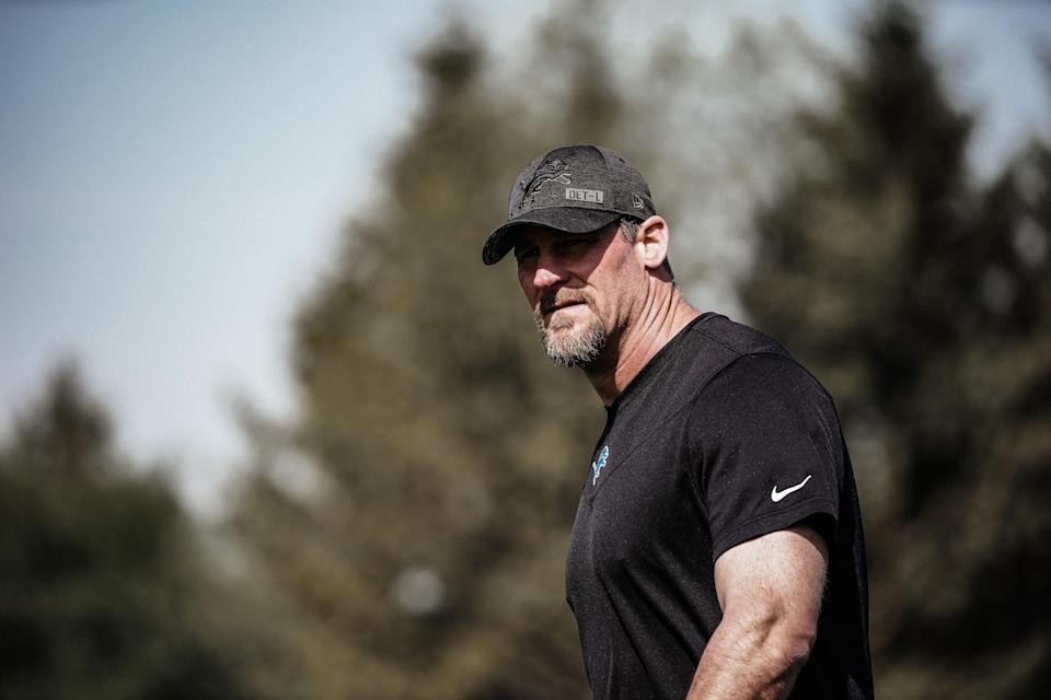 Lions coach Dan Campbell looks on during rookie minicamp in Allen Park on Sunday, May 16, 2021.