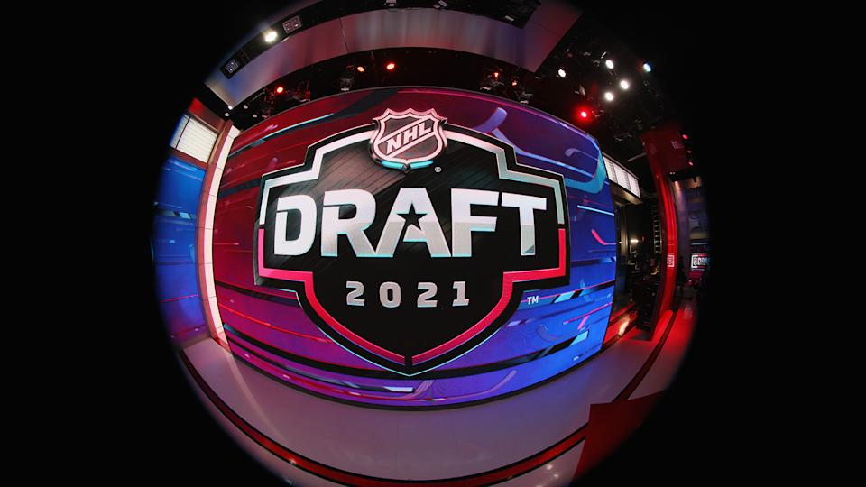 SECAUCUS, NEW JERSEY - JULY 23: The stage is set for the first round of the 2021 NHL Entry Draft at the NHL Network studios on July 23, 2021 in Secaucus, New Jersey. (Photo by Bruce Bennett/Getty Images)