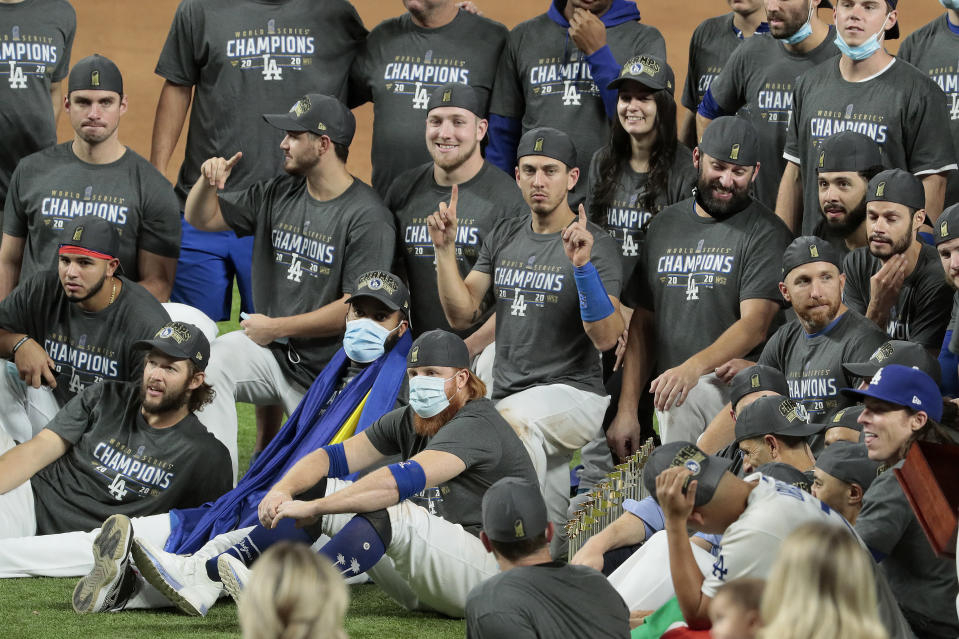 ARLINGTON, TX - OCTOBER 27:  The Dodgers and the Rays in game six of  the World Series at Globe Life Field. (Photo by Robert Gauthier/Los Angeles Times via Getty Images)