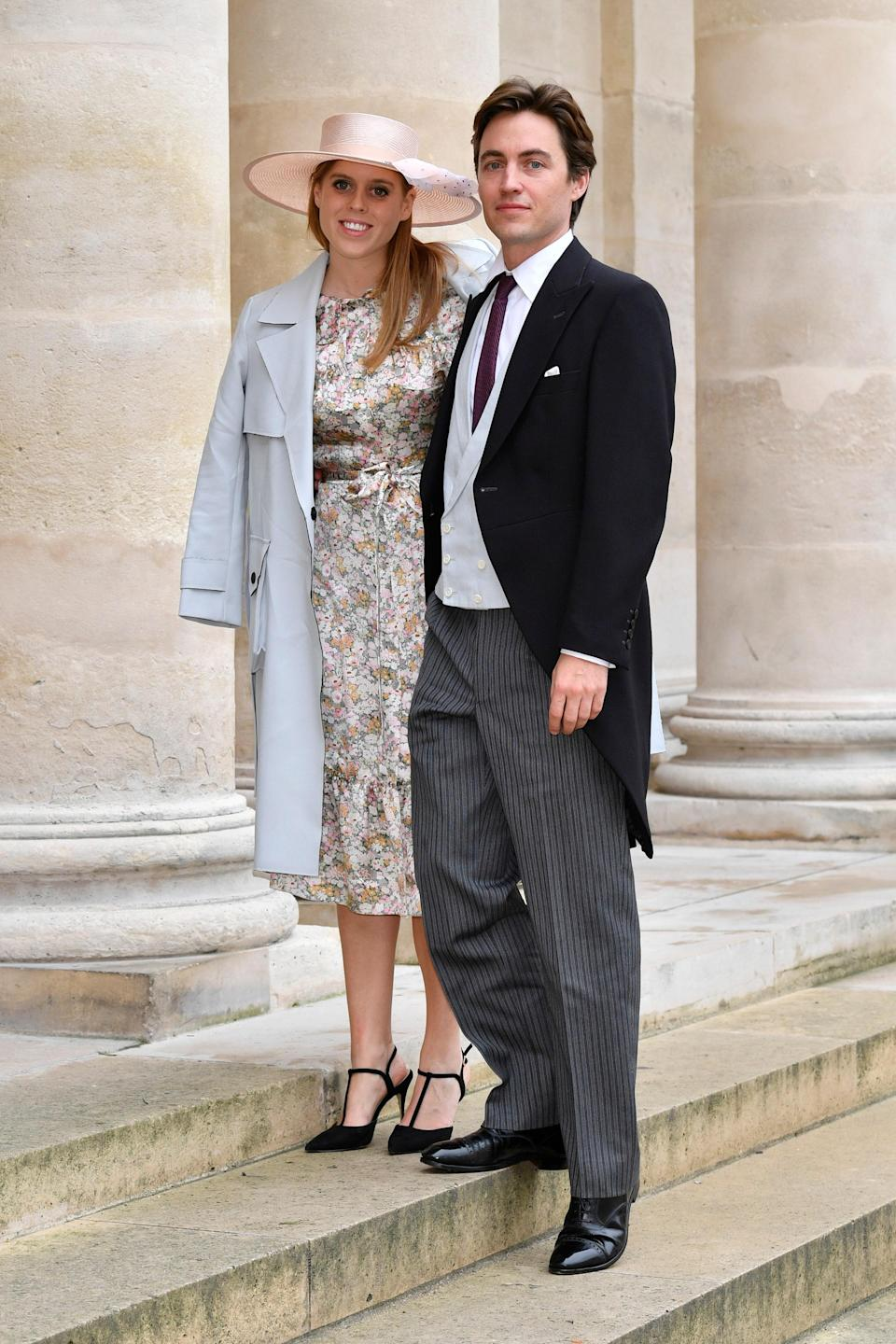 """<p>Surprise! <a href=""""https://www.glamour.com/about/princess-beatrice?mbid=synd_yahoo_rss"""" rel=""""nofollow noopener"""" target=""""_blank"""" data-ylk=""""slk:Princess Beatrice"""" class=""""link rapid-noclick-resp"""">Princess Beatrice</a> married Edoardo Mapelli Mozzi in a <a href=""""https://www.glamour.com/story/princess-beatrice-married-edoardo-mapelli-mozzi-in-a-secret-wedding-at-windsor-castle?mbid=synd_yahoo_rss"""" rel=""""nofollow noopener"""" target=""""_blank"""" data-ylk=""""slk:secret wedding"""" class=""""link rapid-noclick-resp"""">secret wedding</a> at Windsor Castle, Buckingham Palace confirmed. </p> <p>""""The private wedding ceremony of Princess Beatrice and Mr. Edoardo Mapelli Mozzi took place at 11am on Friday 17th July at The Royal Chapel of All Saints at Royal Lodge, Windsor,"""" the statement <a href=""""https://twitter.com/byQueenVic/status/1284094561229438977?s=20"""" rel=""""nofollow noopener"""" target=""""_blank"""" data-ylk=""""slk:read"""" class=""""link rapid-noclick-resp"""">read</a>. """"The small ceremony was attended by The Queen, The Duke of Edinburgh, and close family. The wedding took place in accordance with all relevant Government Guidelines.""""</p> <p>Not only did the princess wear Queen Elizabeth II's <a href=""""https://www.glamour.com/story/princess-beatrice-wedding-photos-queen-elizabeth-tiara-wedding-dress-borrowed?mbid=synd_yahoo_rss"""" rel=""""nofollow noopener"""" target=""""_blank"""" data-ylk=""""slk:own wedding tiara"""" class=""""link rapid-noclick-resp"""">own wedding tiara</a>, but she also borrowed <a href=""""https://www.glamour.com/story/princess-beatrice-wedding-photos-queen-elizabeth-tiara-wedding-dress-borrowed?mbid=synd_yahoo_rss"""" rel=""""nofollow noopener"""" target=""""_blank"""" data-ylk=""""slk:a gown"""" class=""""link rapid-noclick-resp"""">a gown</a> from her grandmother. Designed by Norman Hartnell, who also designed the dress Queen Elizabeth wore to her own nuptials, Beatrice's choice of gown for her wedding was reportedly a last-minute decision. After changing her mind from her original choice, the princess reportedly """"made a request [to bo"""