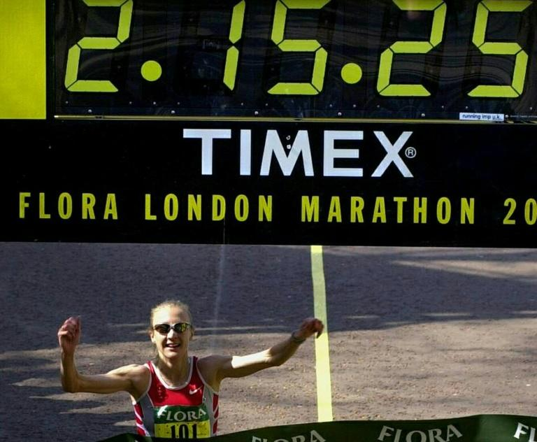Paula Radcliffe ran a world record time of 2hr 15min 25sec  in winning the 2003 London Marathon