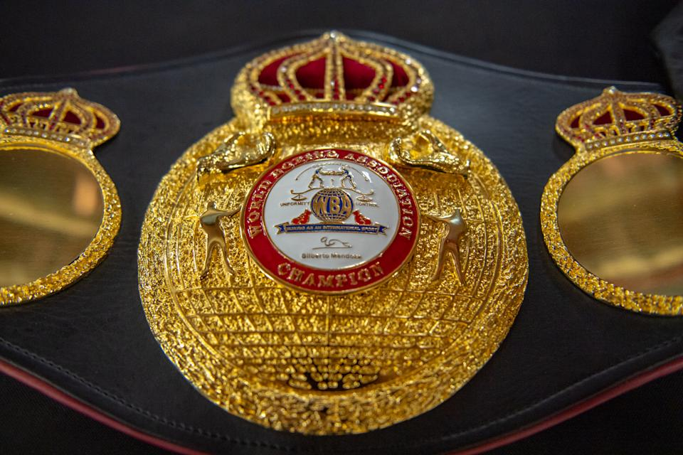 MIAMI, FL - APRIL 04:  A detailed view of the WBA belt of Middleweight World Champion Claressa Shields on display before her workout for the media at 5th Street Gym on April 4, 2019 in Miami, Florida. Shields is training to fight WBO Middleweight World Champion Christina Hammer for the undisputed middleweight world championship April 13. (Photo by Mark Brown/Getty Images)