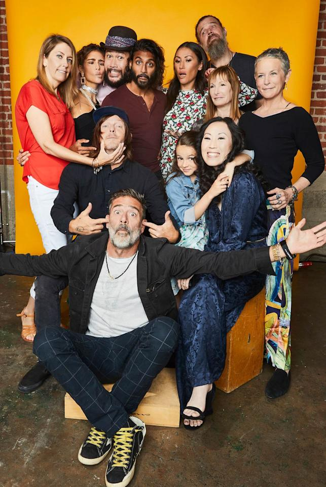 <p>Denise Huth, Nadia Hilker, Cooper Andrews, Avi Nash, Eleanor Matsuura, Ryan Hurst, Gale Anne Hurd, Melissa McBride, (Bottom L-R) Norman Reedus, Jeffrey Dean Morgan, Cailey Fleming, and Angela Kang of 'The Walking Dead' pose for a portrait at the Pizza Hut Lounge at 2019 Comic-Con International: San Diego on July 20, 2019 in San Diego, California.</p>