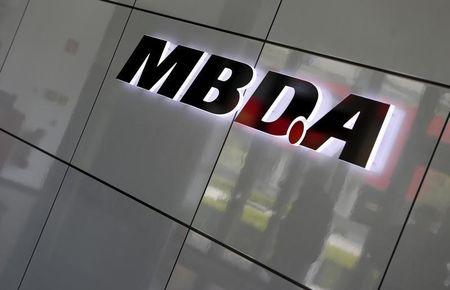 European Defense Group MBDA's company logo is pictured in Schrobenhausen