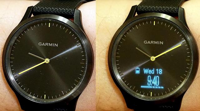 When the screen is on, the hands of the watch can swing up into 10:10 position — that is, they get out of the way (right).
