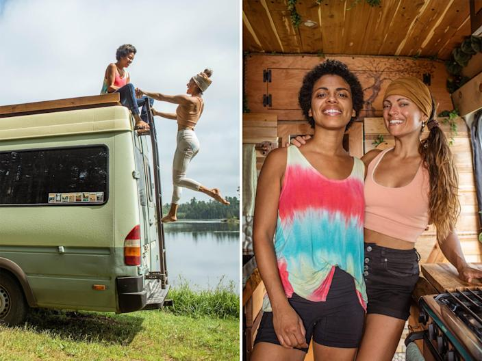 Left: Nat and Abi on the rooftop deck Right: Nat and Abi inside their van