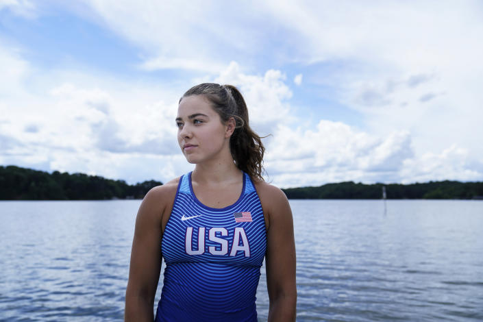 Canoe sprint world champion Nevin Harrison, 19, of Seattle, poses for a portrait before she trains near Lake Lanier Olympic Park on Thursday, July 1, 2021, in Gainesville, Ga. Harrison won the world championship in the women's sprint canoe 200 meters as a 17-year-old in 2019. Now she'll try to duplicate that at the Olympics in Tokyo where the race will be a new event in a bid for gender equity. (AP Photo/Brynn Anderson)