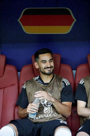 Soccer Football - World Cup - Group F - Germany vs Mexico - Luzhniki Stadium, Moscow, Russia - June 17, 2018 Germany's Ilkay Gundogan on the bench before the match REUTERS/Carl Recine